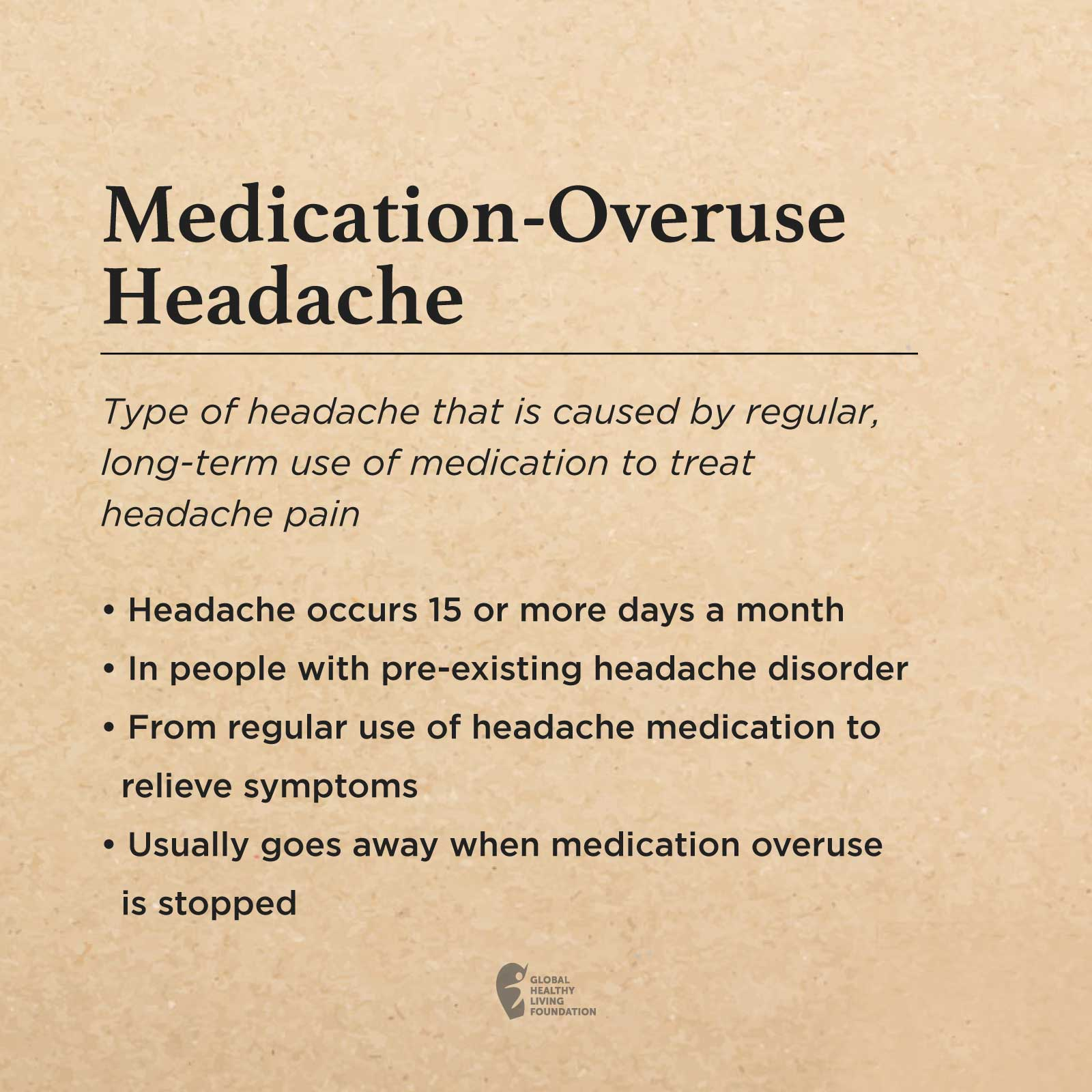 A Brown Box With The Following Text: Medication-Overuse Headache Type Of Headache That Is Caused By Regular, Long-term Use Of Medication To Treat Headache Pain Headache Occurs 15 Or More Days A Month In People With Pre-existing Headache Disorder From Regular Use Of Headache Medication To Relieve Symptoms Usually Goes Away When Medication Overuse Is Stopped