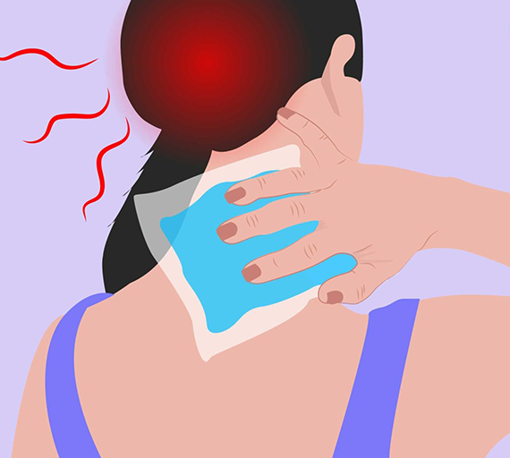Illustration of person holding an ice pack on the back of their neck.