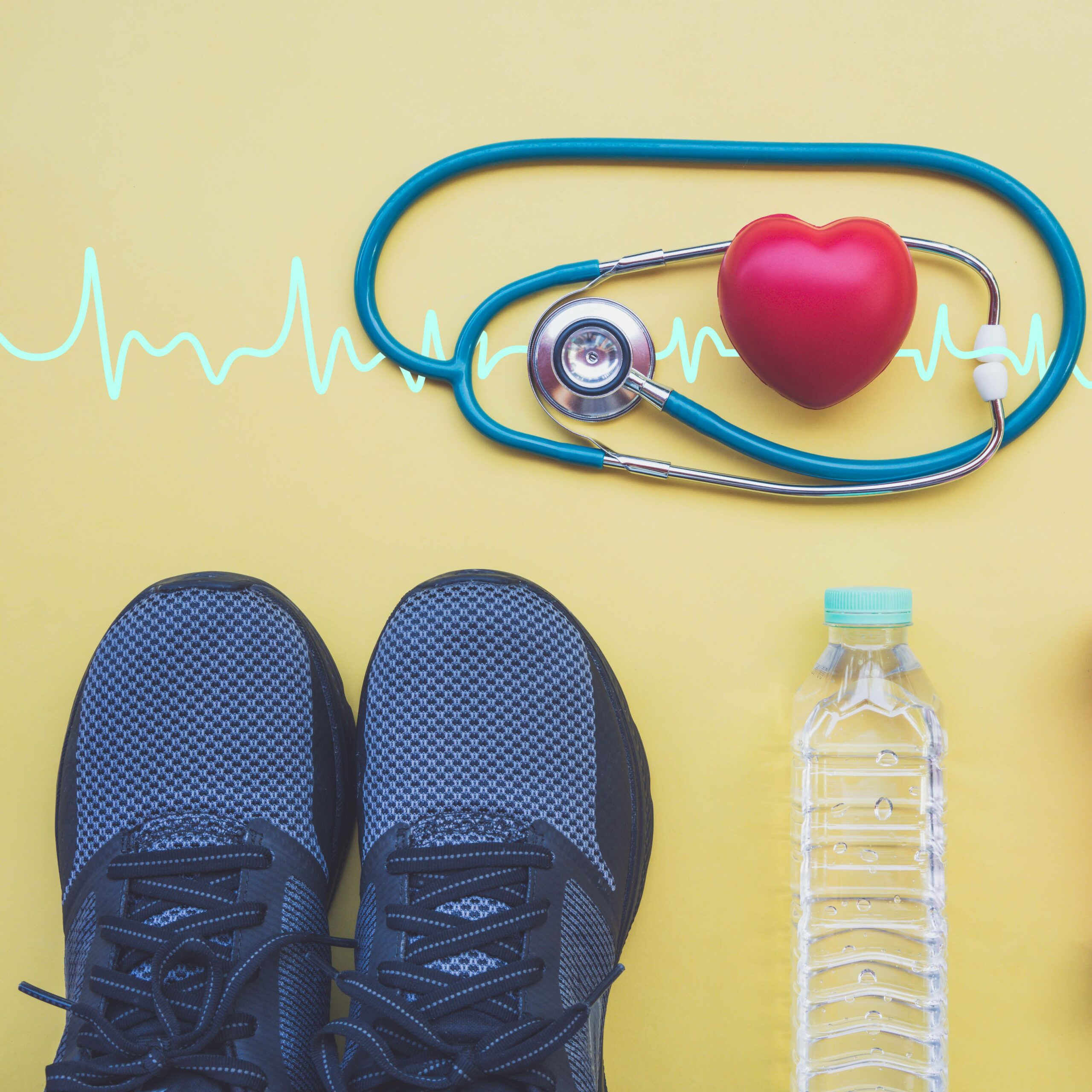 A Photo Of A Pair Of Sneakers, A Bottle Of Water, And A Stethoscope On A Yellow Background. There Is Also A Heartbeat Line.